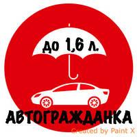 ОСАГО (автогражданка, автоцивилка)! Объем двигателя до 1,6 л. / г.Одесса