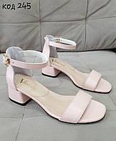 Летние кожаные босоножки на устойчивом каблуке в 3-х цветах, фото 1