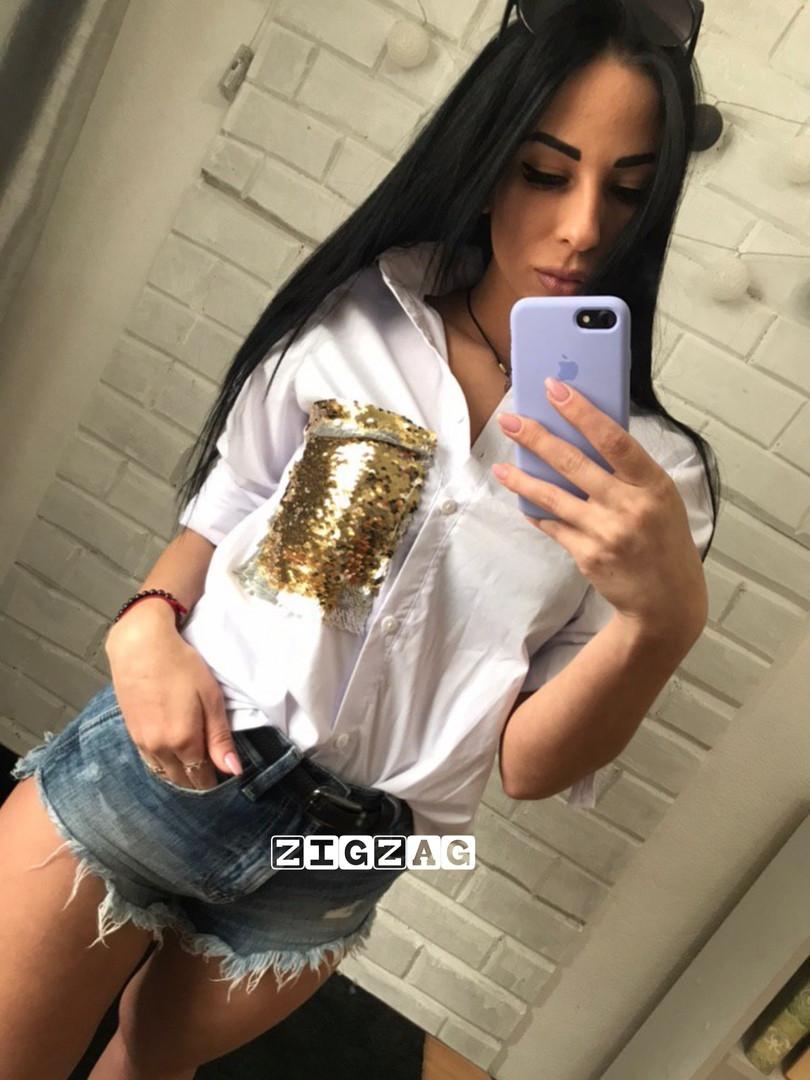 Женская рубашка с пайеткой