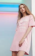 Платье-футболка женское домашнее. Ночная сорочка, туника рубашка для сна, размер M (розовая)