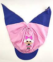 Детская косынка хлопок летняя с 46 по 52 размер тонкая розовая детские косынки летние с козырьком кукла LOL, фото 1