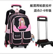 Шикарный рюкзак на колесах с принтом девочки , фото 3