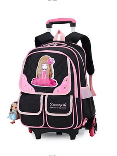 Шикарный рюкзак на колесах с принтом девочки