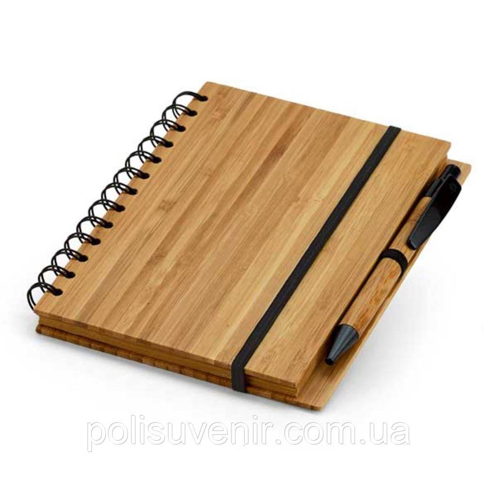 Блокнот в лінійку з бамбуковою ручкою