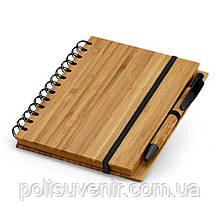 Бамбуковий блокнот в лінійку з бамбуковою ручкою