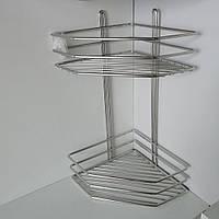 Полка нержавеющая сталь 2-ярусная угловая 38*19,5*19,5см, фото 1