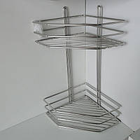 Полку нержавіюча сталь 2-ярусна кутова 38*19,5*19,5 см, фото 1