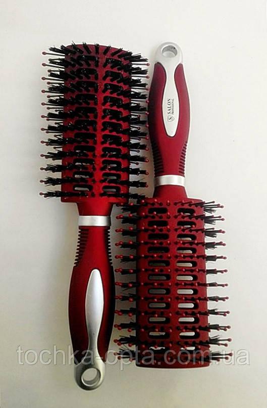 Массажная щётка для волос SALON PROFESSIONAL двухстороняя со щетиной(9565)