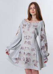 """Сукня вишита """"Калина"""" міні,  сірий колір, льон"""
