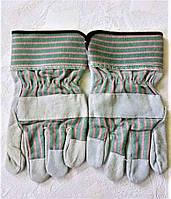 Перчатки рабочие замшевые ,спилковые, краги, пятипалые, цельная ладонь, фото 1