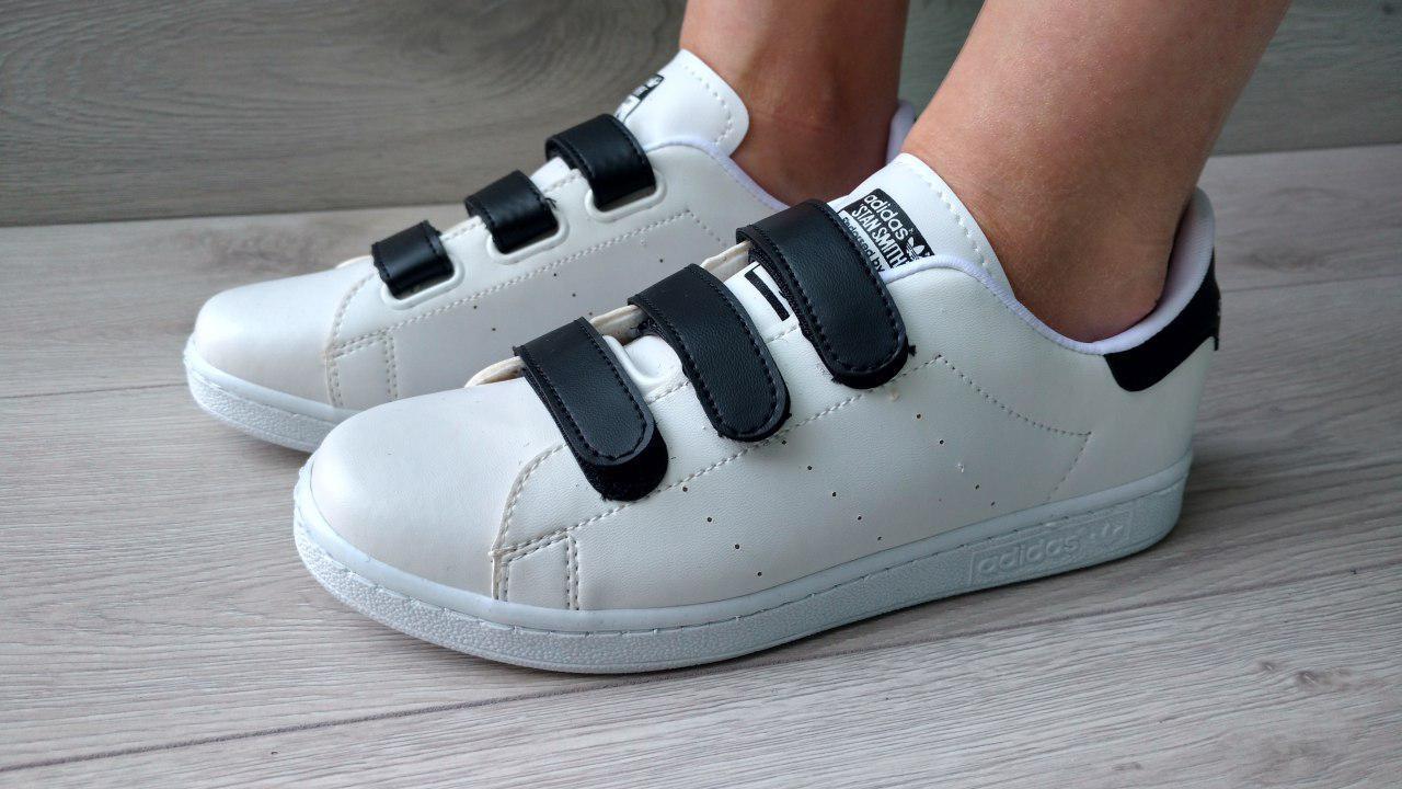 40cbea83de22 ХИТ 2019! Женские кроссовки кеды Adidas Stan Smith на липучках белые