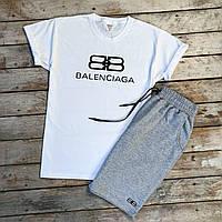 Спортивный костюм летний Balenciaga бело-серый   Шорты + футболка комплект мужской летний ТОП качества