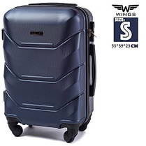 Чемодан на колесах Wings 147 S Premium BLUE темно синий, 4-и каучуковых колеса Польша