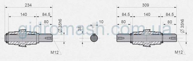 Размеры выходных валов NMRV-090