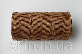 Нитка вощена, плоска, тютюнового кольору, товщина - 1 мм, 130 метрів, артикул СК 5265