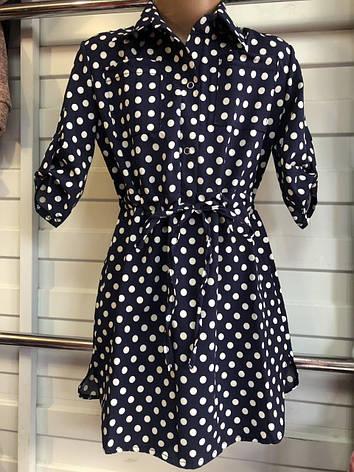 Платье-рубашка в горошек для девочек 6-10 лет, фото 2
