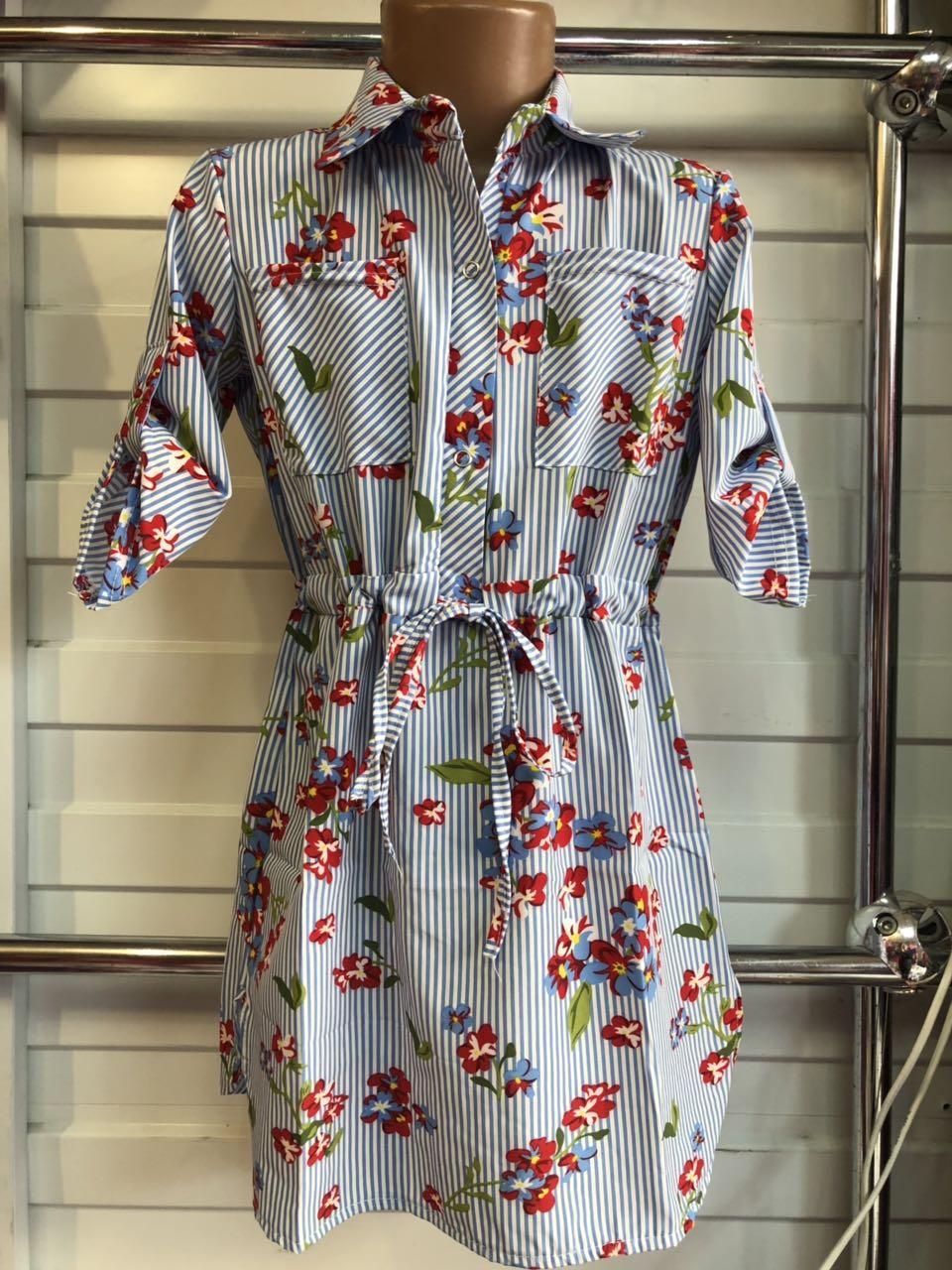 Платье-рубашка в полоску для девочек  Цветочек 6-10 лет