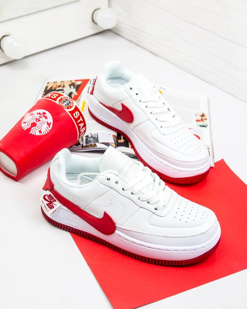 5903668b Женские кроссовки Nike Air Force 1 Jester White Red (найк аир форс, белые /  красные) , цена 1 390 грн., купить в Киеве — Prom.ua (ID#956898814)