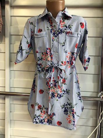 Платье-рубашка в полоску для девочек  Цветочек 6-10 лет, фото 2