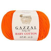 Пряжа из хлопка Gazzal Baby cotton 3419 оранж (Газзал Беби Коттон)