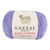 Пряжа из хлопка Gazzal Baby cotton 3420 лаванда (Газзал Беби Коттон)