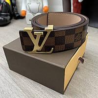 819996ec5175 Ремень Belt Louis Vuitton Initiales 40MM Damier Ebene с логотипом LV,,  коричневый