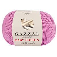 Пряжа из хлопка Gazzal Baby cotton 3422 роза (Газзал Беби Коттон)