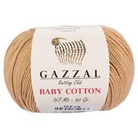 Пряжа из хлопка Gazzal Baby cotton 3424 бежевый (Газзал Беби Коттон)