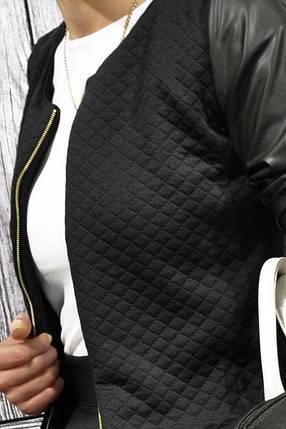 """Куртка кофта женская """"Edith""""большого размера кожаными рукавами, фото 2"""