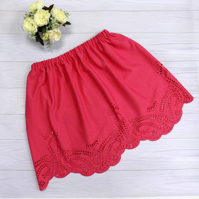 Расклешенная летняя юбка с перфорацией