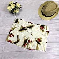 Стильные коттоновые шорты женские с красными цветами