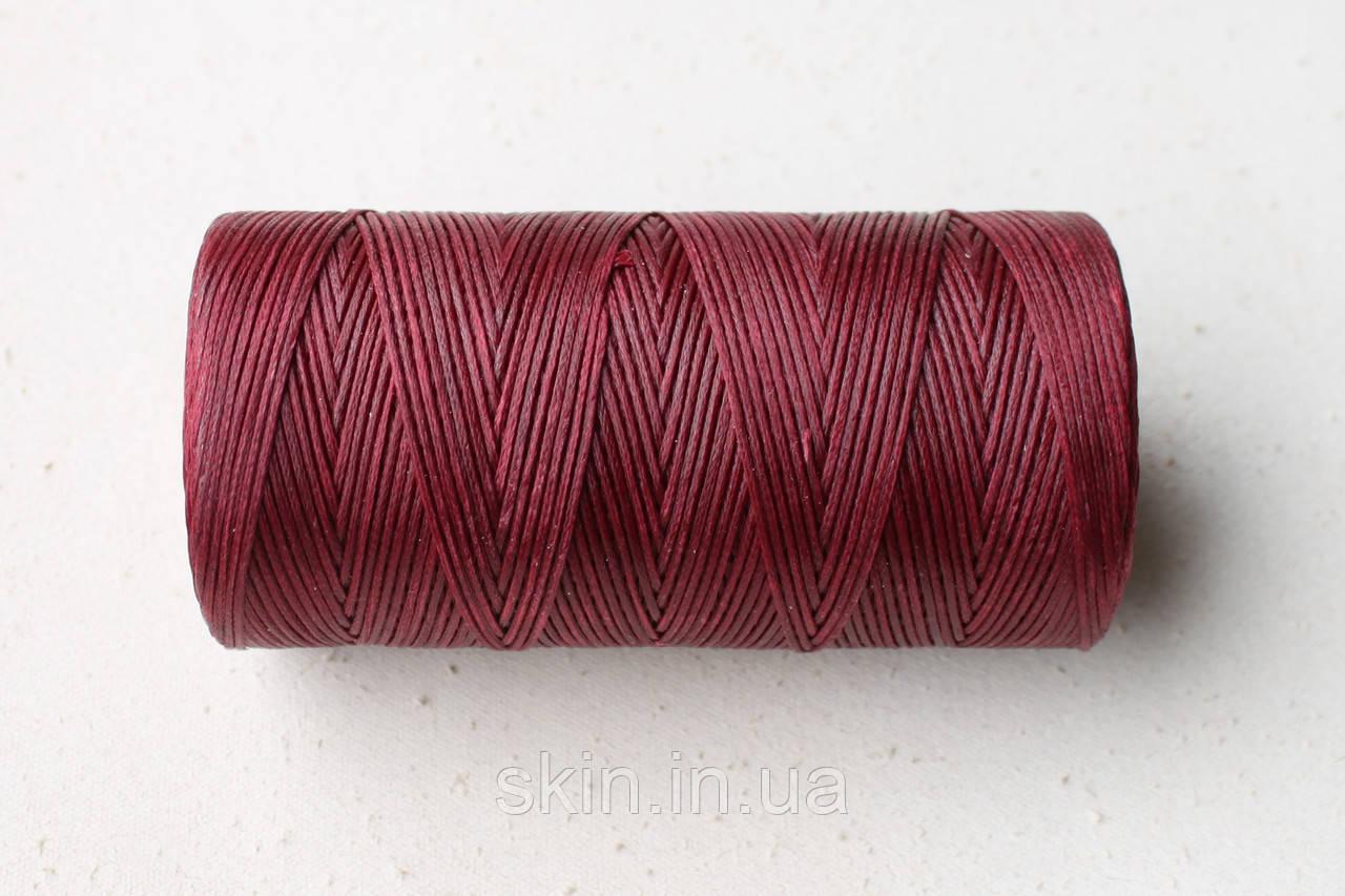 Нитка вощёная, плоская, бордового цвета, толщина - 1 мм, 130 метров, артикул СК 5187