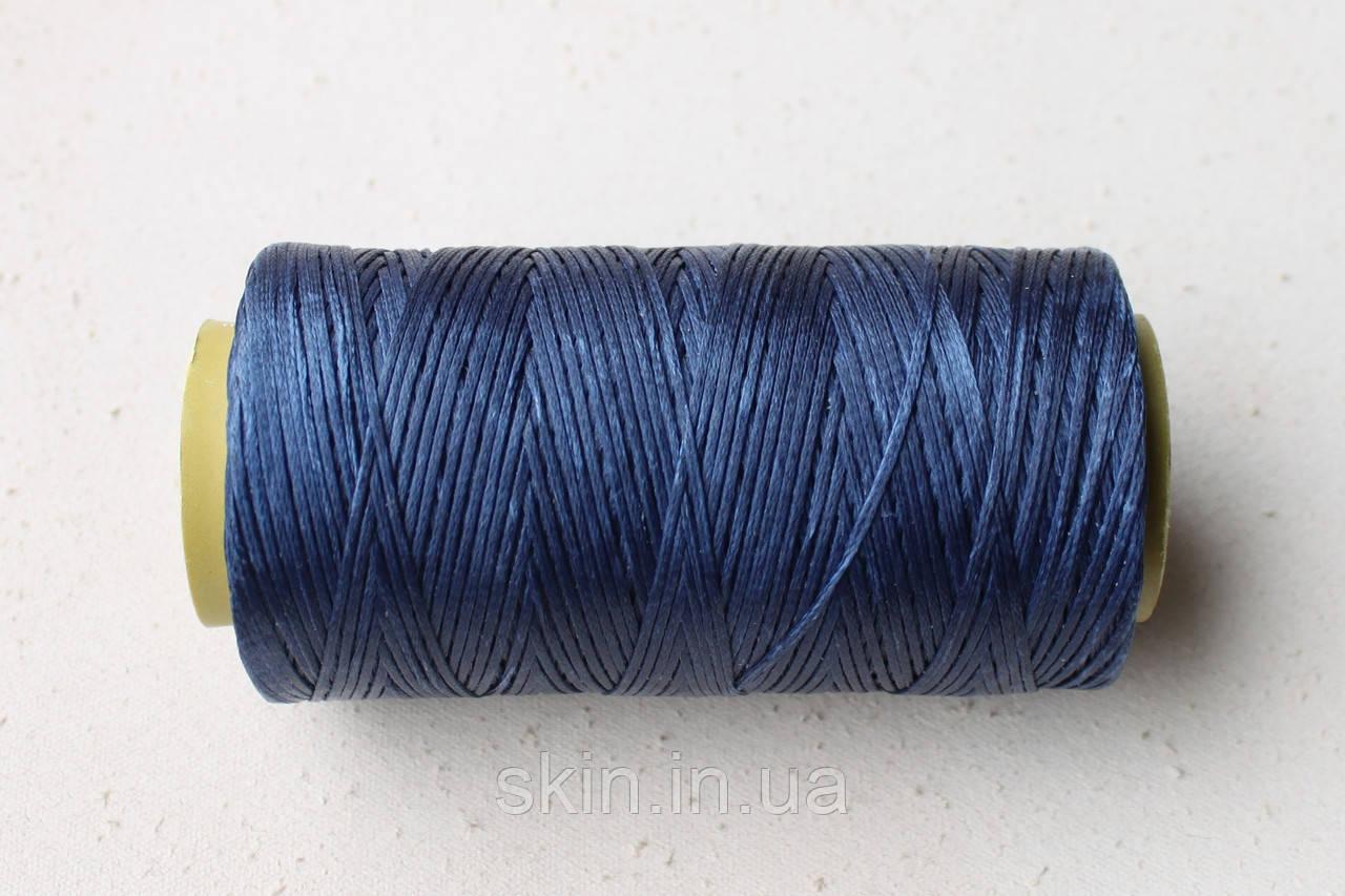 Нитка вощёная, плоская, синего цвета, толщина - 1 мм, 130 метров, артикул СК 5186