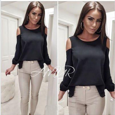 Черная базовая шифоновая свободная блузка с открытыми плечами