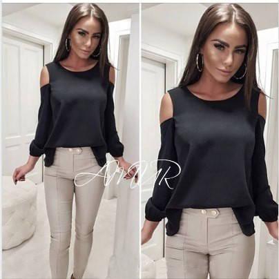 Черная базовая шифоновая свободная блузка с открытыми плечами, фото 2