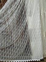Тюль для вітальні королівський фатин з вишивкою люкс якість