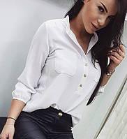 "Белая легкая однотонная деловая блузка с карманами на груди, рукав 3/4 ""Sellin"""