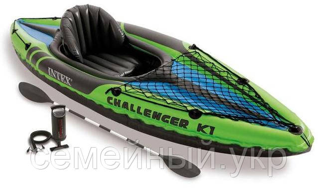 Одноместная надувная лодка. Размер: ДхШхВ 247х76х38 см. Intex 68305 Challenger K1 Kayak