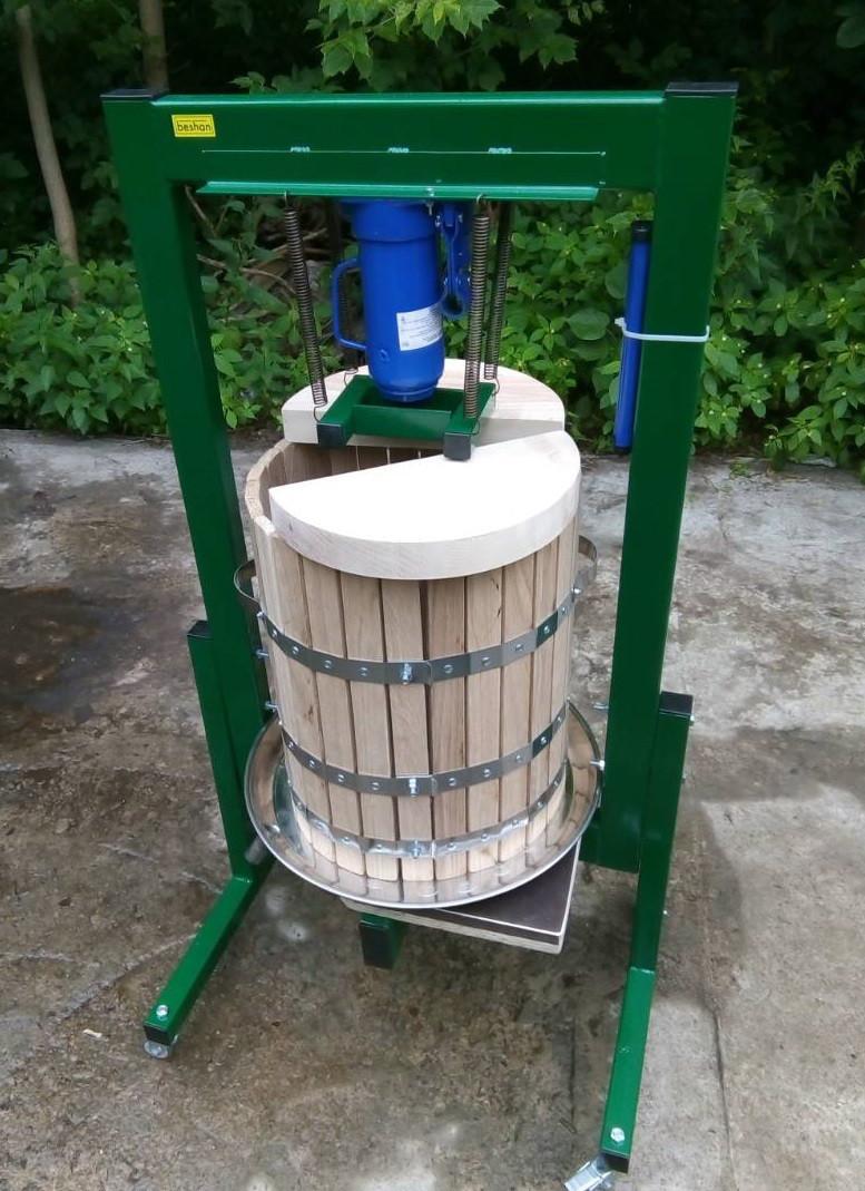 Пресс для сока 50л с домкратом, давление 10 тон, гидравлический