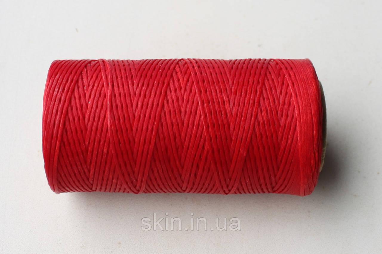 Нитка вощёная, плоская, красного цвета, толщина - 1 мм, 130 метров, артикул СК 5090