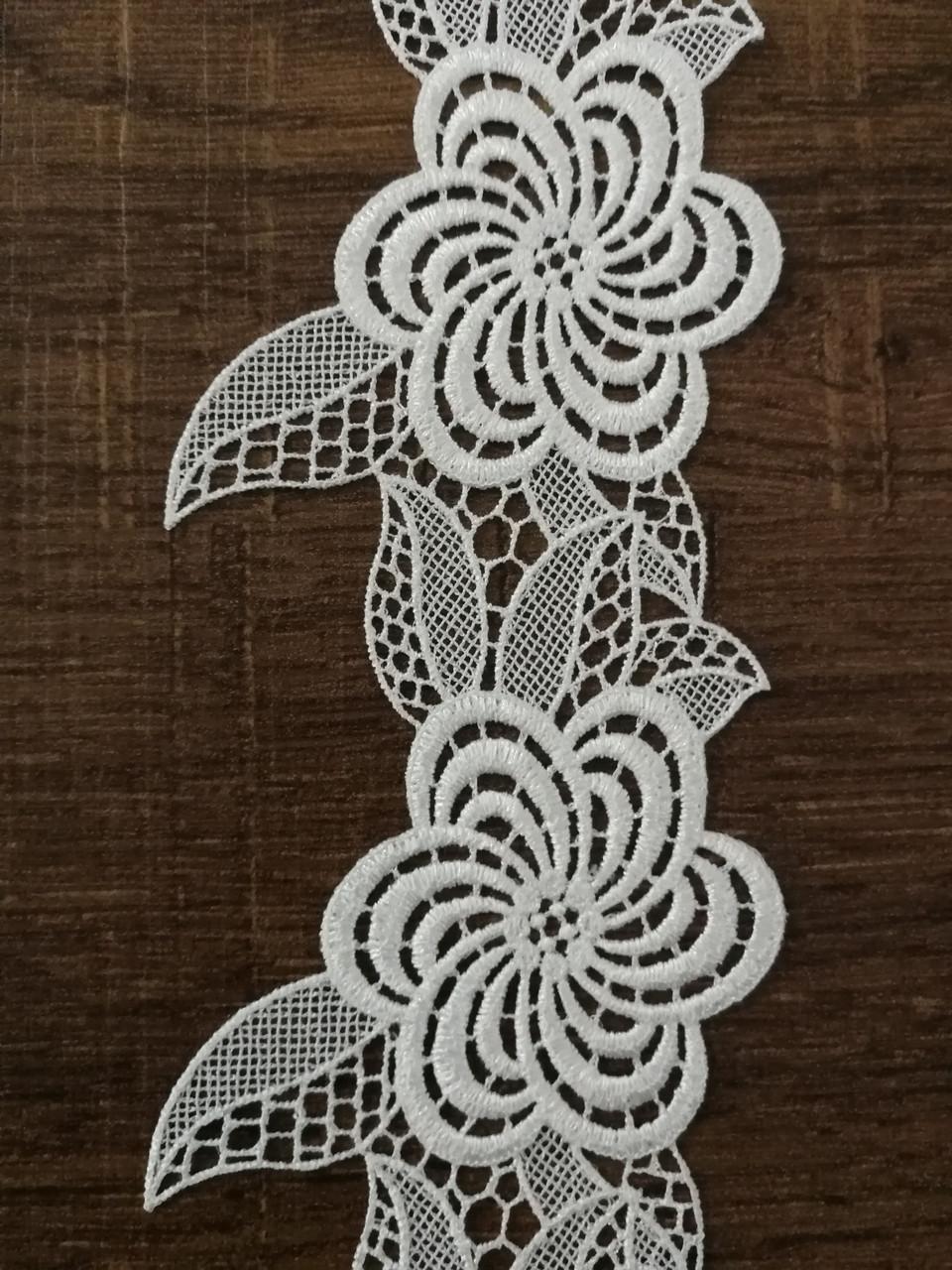 Кружево ажурное 8 см, цвет белый, Тайвань, LACA 1