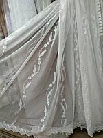Красивая тюль в гостиную  шифон Листочек п-во Турция  , фото 1