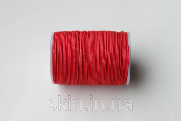 Нитка вощёная, плетенная, круглая, красного цвета, толщина - 0,7 мм, 65 метров, артикул СК 5194, фото 2