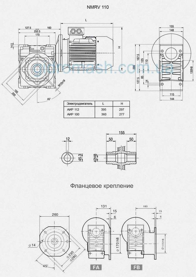 Размеры мотор-редукторов NMRV 110