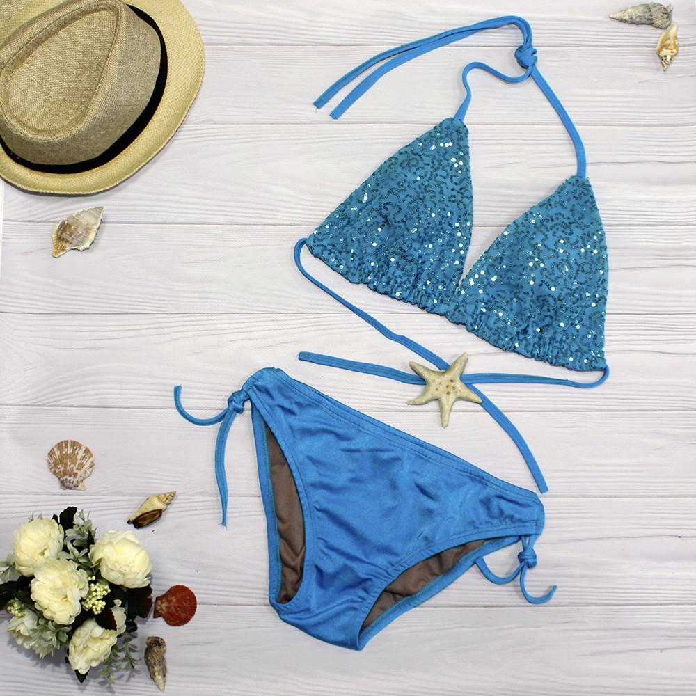 Голубой купальник декорированный пайетками