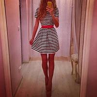 """Модное женское платье """"Полоса"""" с красным поясом"""