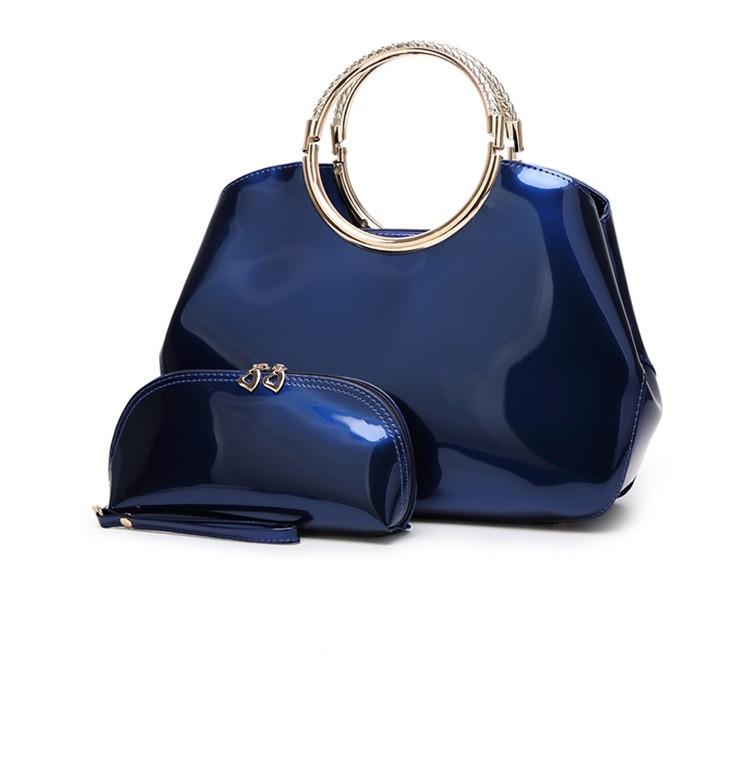 Женская Сумка Стильная Лаковая (L-16268) Синяя