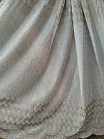 Шикарная тюль кристалон с бежевой вышивкой п-во Турция  , фото 1