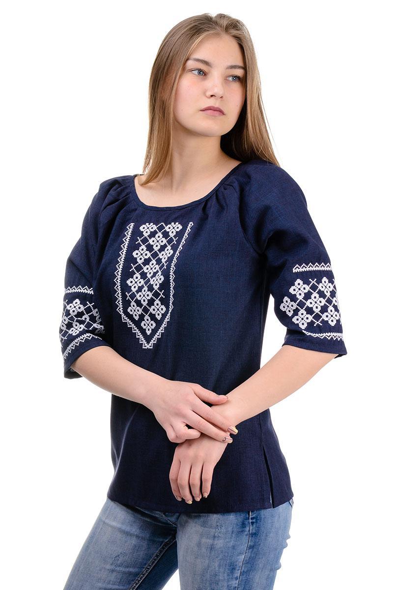 Женская сорочка вышиванка лен-габардин , размеры 44,46,48