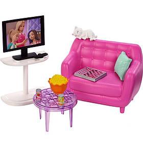 Мебель для кукол Барби Гостинная с аксессуарами FXG36
